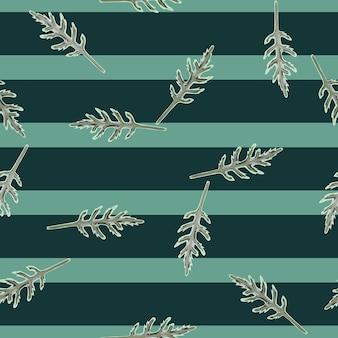 Jednolity wzór kilka sałatka z rukoli na paski turkusowy tło. nowoczesna ozdoba z sałatą.