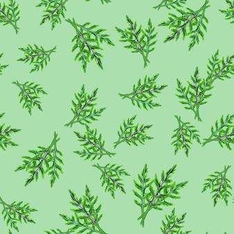 Jednolity wzór kilka sałatka z rukoli na pastelowym zielonym tle. nowoczesna ozdoba z sałatą. losowy szablon roślinny do tkaniny. projekt ilustracji wektorowych.