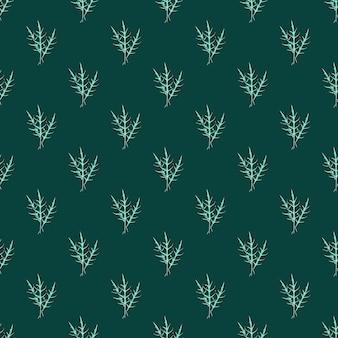 Jednolity wzór kilka sałatka z rukoli na turkusowym tle. streszczenie ornament z sałatą.