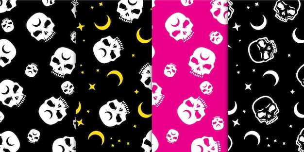 Jednolity wzór kolorowe czaszki z księżycową gwiazdą i diamentowymi magicznymi szczegółami w darmowym wektorze