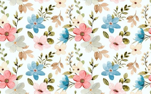 Jednolity wzór kolorowych kwiatów akwarela