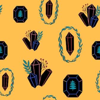Jednolity wzór kolorystyczny z czarnymi kryształami klejnoty, diamenty, minerały, kamienie szlachetne