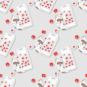 Jednolity wzór kota z telefonem komórkowym