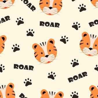 Jednolity wzór kreskówka tygrys twarz, odciski łap i ryk napis, ilustracji wektorowych.