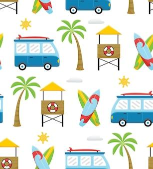 Jednolity wzór kreskówki tematu wakacji na plaży