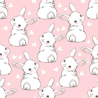 Jednolity wzór królika. ręcznie rysowane króliczek i serce, nadruk królika tło projektu. bezszwowy. drukuj design textile for fashion kids.