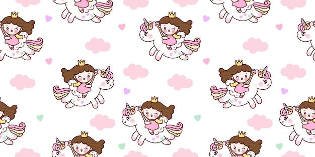 Jednolity wzór księżniczki jeździ pegaz jednorożec kreskówka z chmurą kawaii zwierzęciem