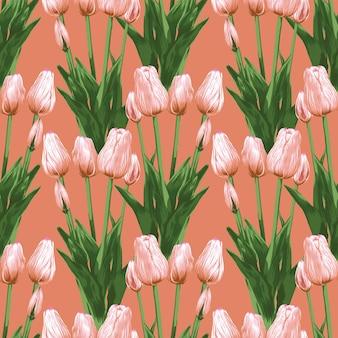 Jednolity wzór kwiatowy tulipan kwiaty streszczenie. styl wektor ilustracja akwarela rysunek.