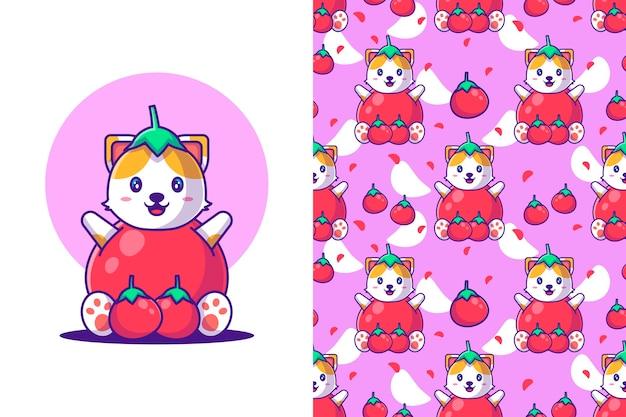 Jednolity wzór ładny kot kreskówka z pomidorem