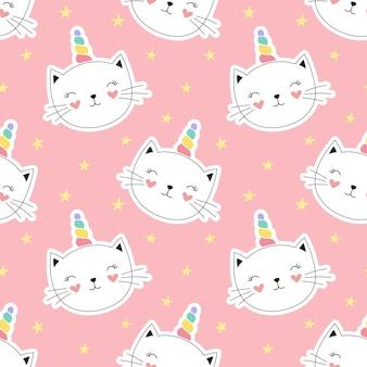 Jednolity wzór ładny kotek jednorożca, mały kotek.