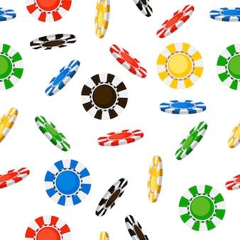 Jednolity wzór latających żetonów w kasynie. spadające wióry. . ilustracja na białym tle. strona internetowa i aplikacja mobilna.