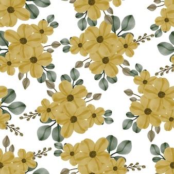 Jednolity wzór liści i żółtych kwiatów