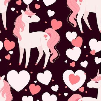 Jednolity wzór magicznego mitycznego zwierzęcia z bajki różowy jednorożec kreskówka projekt płaski wektor ilustracja na ciemnym tle.