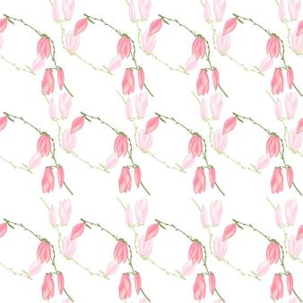 Jednolity wzór magnolie na białym tle. piękna ozdoba z kwiatami. geometryczny kwiatowy szablon do tkaniny. projekt ilustracji wektorowych.