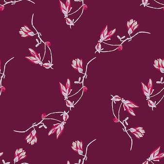 Jednolity wzór magnolie na fioletowym tle. piękna tekstura z jaskrawoczerwonymi kwiatami. geometryczny kwiatowy szablon do tkaniny. projekt ilustracji wektorowych.