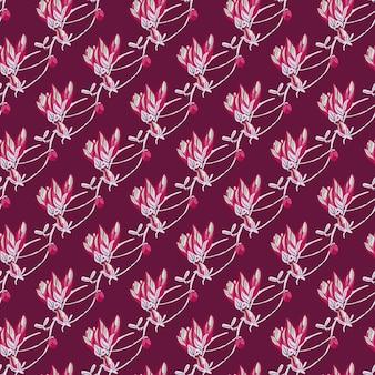Jednolity wzór magnolie na jasnym tle. piękna ozdoba z czerwonymi kwiatami.