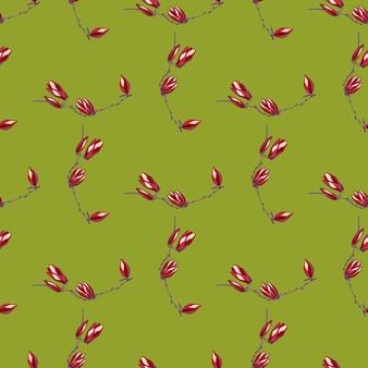 Jednolity wzór magnolie na jasnym zielonym tle. piękna tekstura z czerwonymi kwiatami. geometryczny kwiatowy szablon do tkaniny. projekt ilustracji wektorowych.