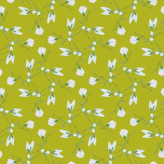 Jednolity wzór magnolie na zielonym tle. piękna ozdoba z niebieskimi kwiatami. geometryczny kwiatowy szablon do tkaniny. projekt ilustracji wektorowych.