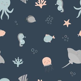Jednolity wzór morski na ciemnym tle
