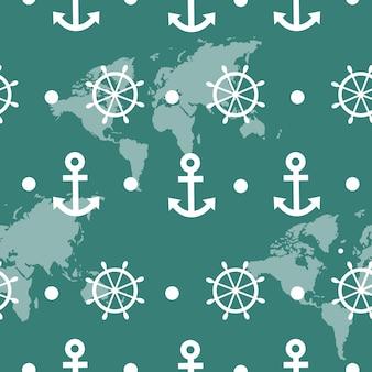 Jednolity wzór morski z białymi kotwicami i kołami statku - wektor