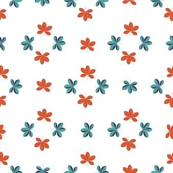 Jednolity wzór na białym tle z nadrukiem w czerwone i niebieskie geometryczne kwiaty scheffler