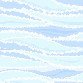 Jednolity wzór niebieskich fal wody morskiej. teksturowane tło wody rzecznej i piany.