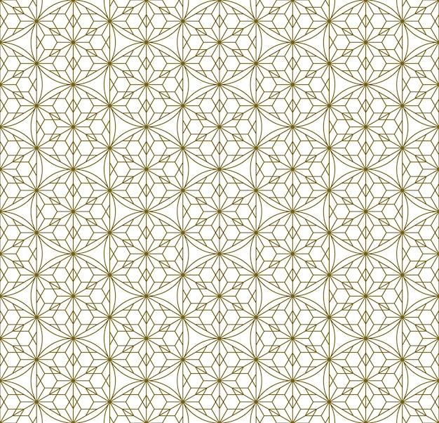 Jednolity wzór oparty na elementach tradycyjnego japońskiego rzemiosła kumiko zaiku. drobne linie koloru brązowego.