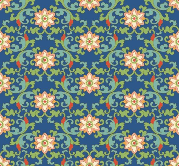 Jednolity wzór orientalny ogród botaniczny krzywej spirali liść różowy kwiat