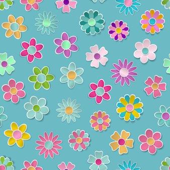 Jednolity wzór papierowych kwiatów w różnych kolorach z cieniami