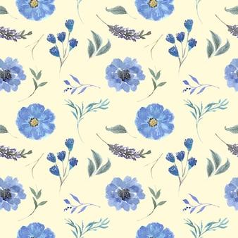 Jednolity wzór piękny kwiat i liście akwarela
