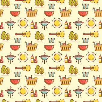 Jednolity wzór piknikowy z arbuzami, motylami, grillem, słońcem, drzewami, gitarami, koszami i innymi symbolami. letnia rekreacja na świeżym powietrzu i motywy grillowania. tło wektor.