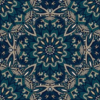 Jednolity wzór plemiennej mandali do drukowania na tkaninie lub papierze.