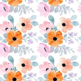 Jednolity wzór pomarańczowy różowy kwiatowy z akwarelą