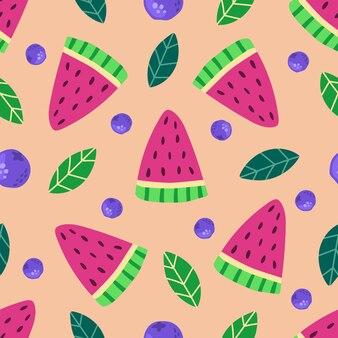 Jednolity wzór ręcznie rysowane arbuz plastry jagody i liście nowoczesna płaska ilustracja