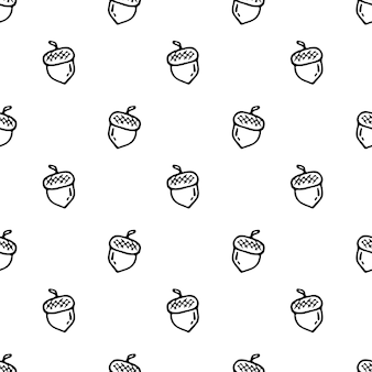 Jednolity wzór ręcznie rysowane doodle żołądź. szkic powrót do szkoły, ikona. element dekoracyjny. na białym tle. ilustracja wektorowa.