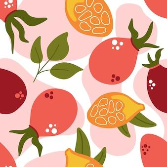 Jednolity wzór różanych jagód z liśćmi róży jagody nowoczesna płaska ilustracja