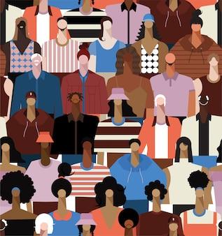 Jednolity wzór różnorodności ludzie tworzą z geometrycznych dzieci młodych, średnim wieku, starszych dorosłych kobiet kobiet