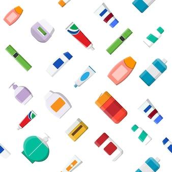 Jednolity wzór różnych butelek kosmetycznych. krem, pasta do zębów, szampon, żel, spray, tubka i mydło. pielęgnacja skóry i ciała, toalety. produkty pielęgnacyjne i oczyszczające. ilustracja wektorowa w stylu płaski