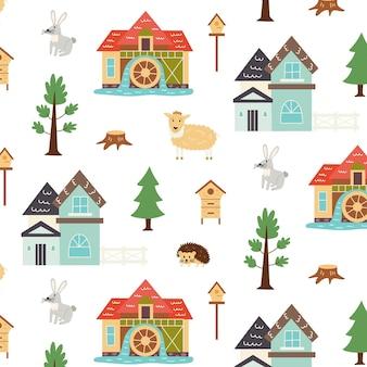 Jednolity wzór rustykalne życie zwierząt. powtarzające się tło z motywem rustykalnym. wektor ręcznie rysować papier, tapeta przedszkola
