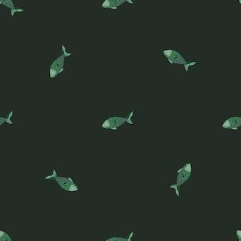 Jednolity wzór ryb na ciemnozielonym tle. minimalistyczny ornament ze zwierzętami morskimi. geometryczny szablon do tkaniny. projekt ilustracji wektorowych.