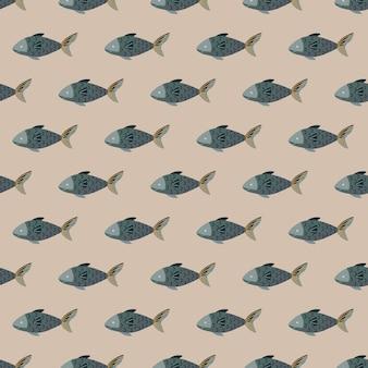 Jednolity wzór ryb na jasnobrązowym tle. prosta ozdoba ze zwierzętami morskimi. geometryczny szablon do tkaniny. projekt ilustracji wektorowych.