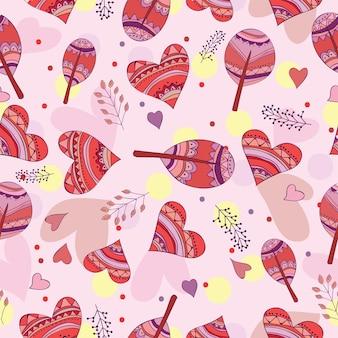 Jednolity wzór rysowania doodle serca - projekt karty miłości
