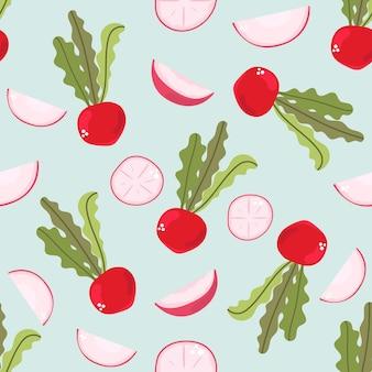 Jednolity wzór rzodkiewki na niebieskim tle koncepcja kuchni świeże warzywa