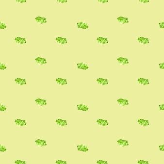 Jednolity wzór sałatka batavia na beżowym tle. minimalistyczny ornament z sałatą.