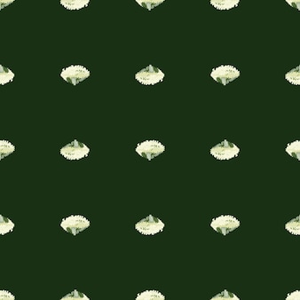 Jednolity wzór sałatka lola rosa na ciemnozielonym tle. minimalizm ornament z sałatą. geometryczny szablon roślinny do tkaniny. projekt ilustracji wektorowych.