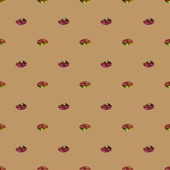 Jednolity wzór sałatka lola rosa na jasnobrązowym tle. minimalizm ornament z sałatą. geometryczny szablon roślinny do tkaniny. projekt ilustracji wektorowych.