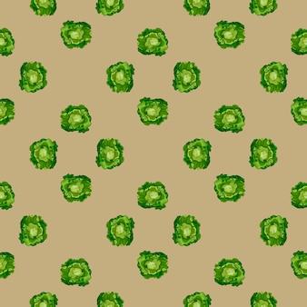 Jednolity wzór sałatka masłowa na brązowym tle. minimalistyczny ornament z sałatą. geometryczny szablon roślinny do tkaniny. projekt ilustracji wektorowych.