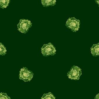 Jednolity wzór sałatka masłowa na ciemnozielonym tle. minimalistyczny ornament z sałatą. losowy szablon roślinny do tkaniny. projekt ilustracji wektorowych.