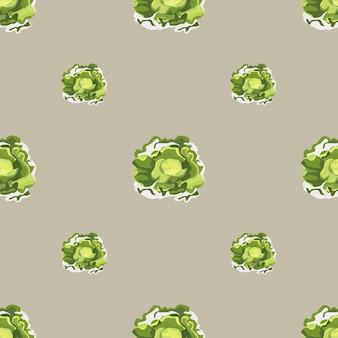 Jednolity wzór sałatka masłowa na jasnobrązowym tle. prosta ozdoba z sałatą. geometryczny szablon roślinny do tkaniny. projekt ilustracji wektorowych.