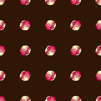 Jednolity wzór sałatka radicchio na brązowym tle. prosta ozdoba z różową sałatą. geometryczny szablon roślinny do tkaniny. projekt ilustracji wektorowych.